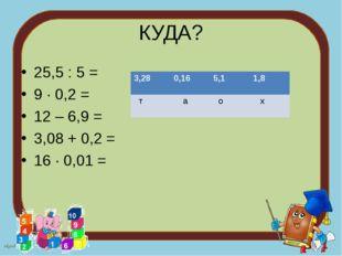 КУДА? 25,5 : 5 = 9 ∙ 0,2 = 12 – 6,9 = 3,08 + 0,2 = 16 ∙ 0,01 = 3,280,165,1