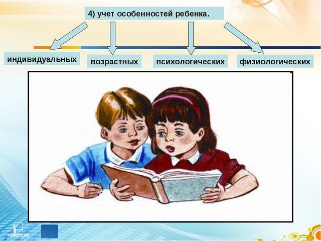 4) учет особенностей ребенка. индивидуальных возрастных психологических физио...