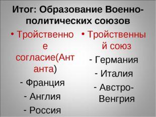 Итог: Образование Военно-политических союзов Тройственное согласие(Антанта) Ф