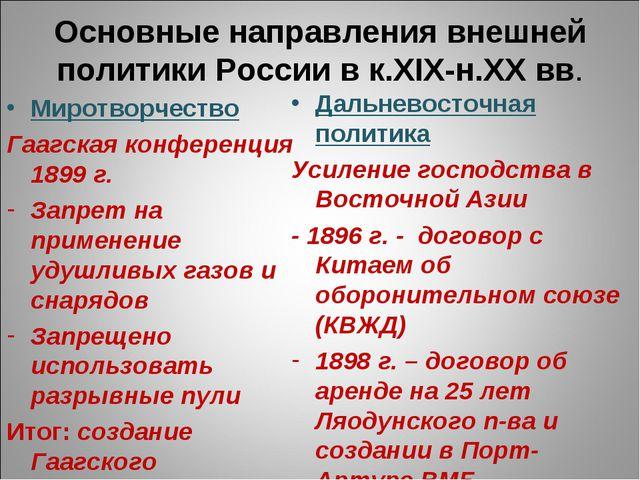 Основные направления внешней политики России в к.XIX-н.ХХ вв. Миротворчество...
