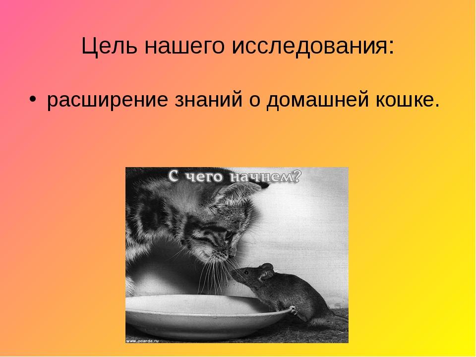 Цель нашего исследования: расширение знаний о домашней кошке.