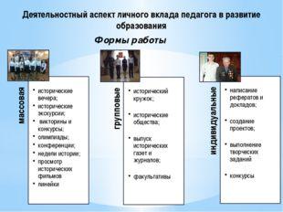 Формы работы Деятельностный аспект личного вклада педагога в развитие образов