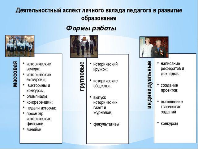 Формы работы Деятельностный аспект личного вклада педагога в развитие образов...