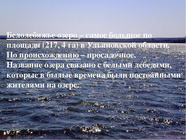 Белолебяжье озеро – самое большое по площади (217, 4 га) в Ульяновской област...