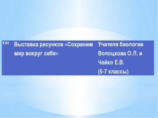 9.04 Выставкарисунков «Сохраним мир вокруг себя» Учителя биологииВолоцковаО.Л