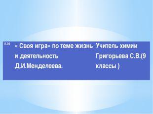 11.04 «Своя игра» по теме жизнь и деятельностьД.И.Менделеева.  Учитель химии