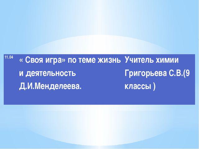 11.04 «Своя игра» по теме жизнь и деятельностьД.И.Менделеева.  Учитель химии...