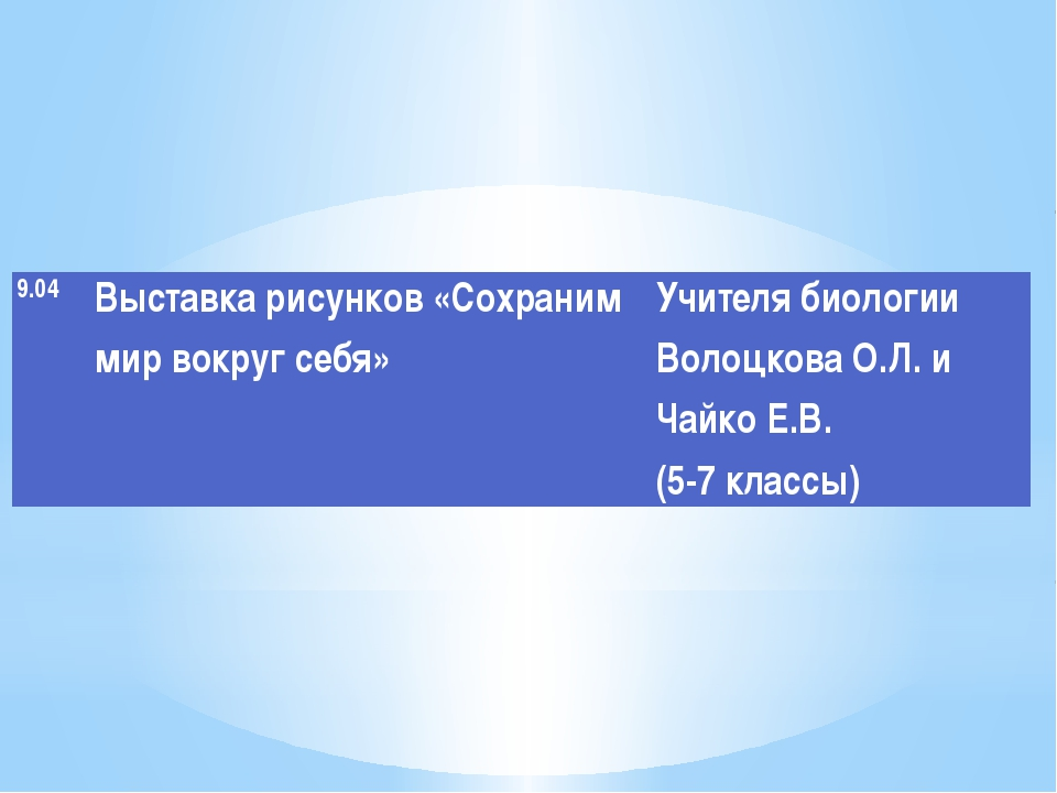 9.04 Выставкарисунков «Сохраним мир вокруг себя» Учителя биологииВолоцковаО.Л...
