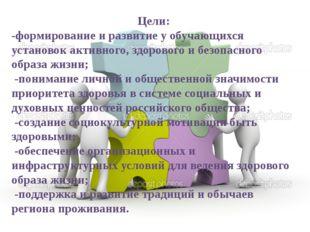 Цели: -формирование и развитие у обучающихся установок активного, здорового и