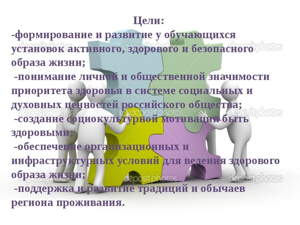 Цели: -формирование и развитие у обучающихся установок активного, здорового и...