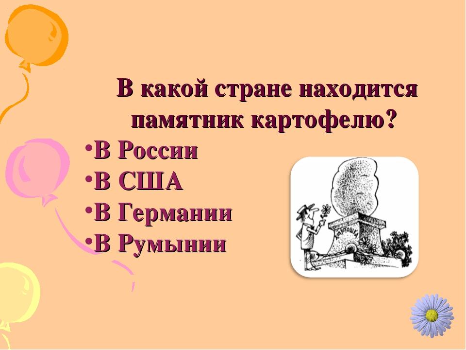 В какой стране находится памятник картофелю? В России В США В Германии В Рум...