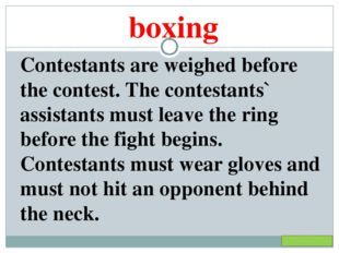 boxing Contestants are weighed before the contest. The contestants` assistant