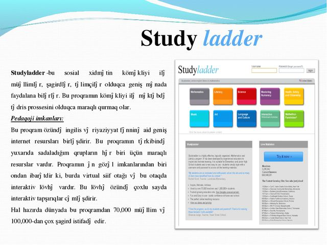 Study ladder Studyladder-bu sosial xidmətin köməkliyi ilə müəllimlər, şagir...