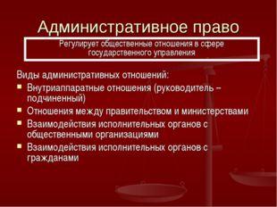 Административное право Виды административных отношений: Внутриаппаратные отно