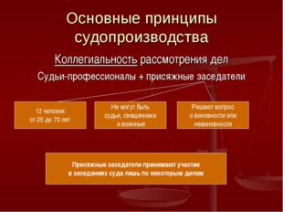 Основные принципы судопроизводства Коллегиальность рассмотрения дел Судьи-про