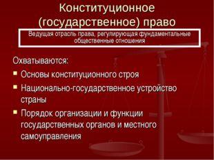 Конституционное (государственное) право Охватываются: Основы конституционного
