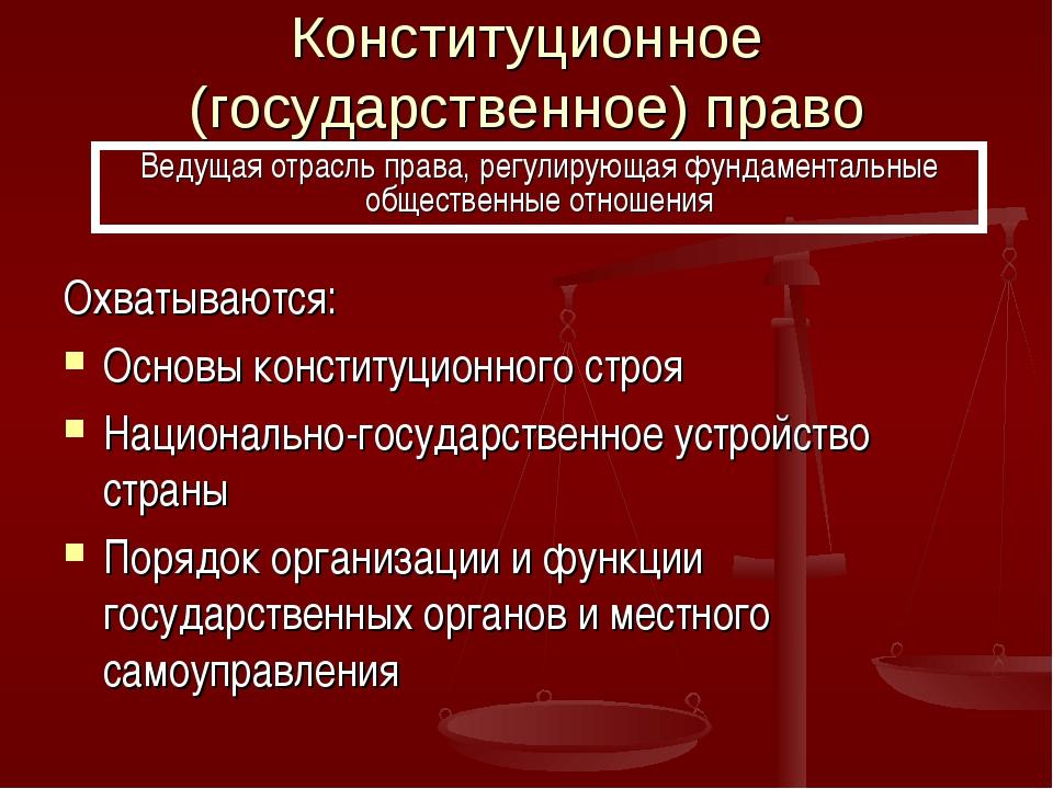 Конституционное (государственное) право Охватываются: Основы конституционного...
