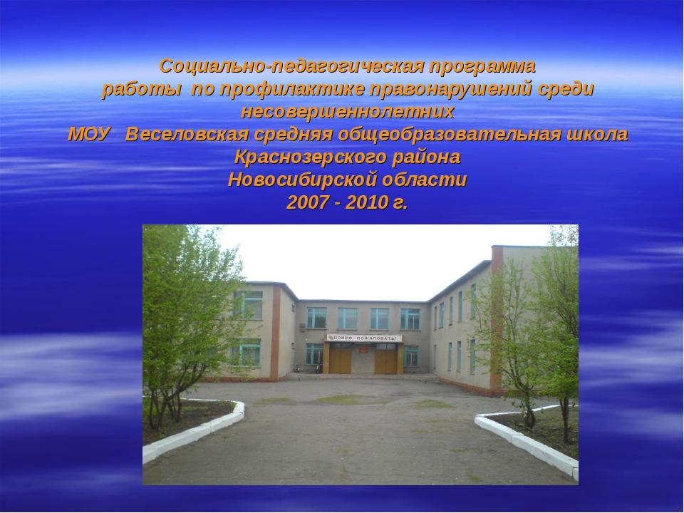 Социально-педагогическая программа работы по профилактике правонарушений сред...