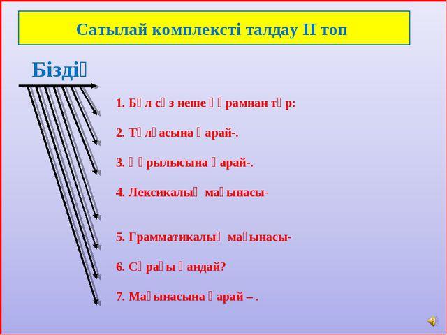 1. Бұл сөз неше құрамнан тұр: 2. Тұлғасына қарай-. 3. Құрылысына қарай-. 4....