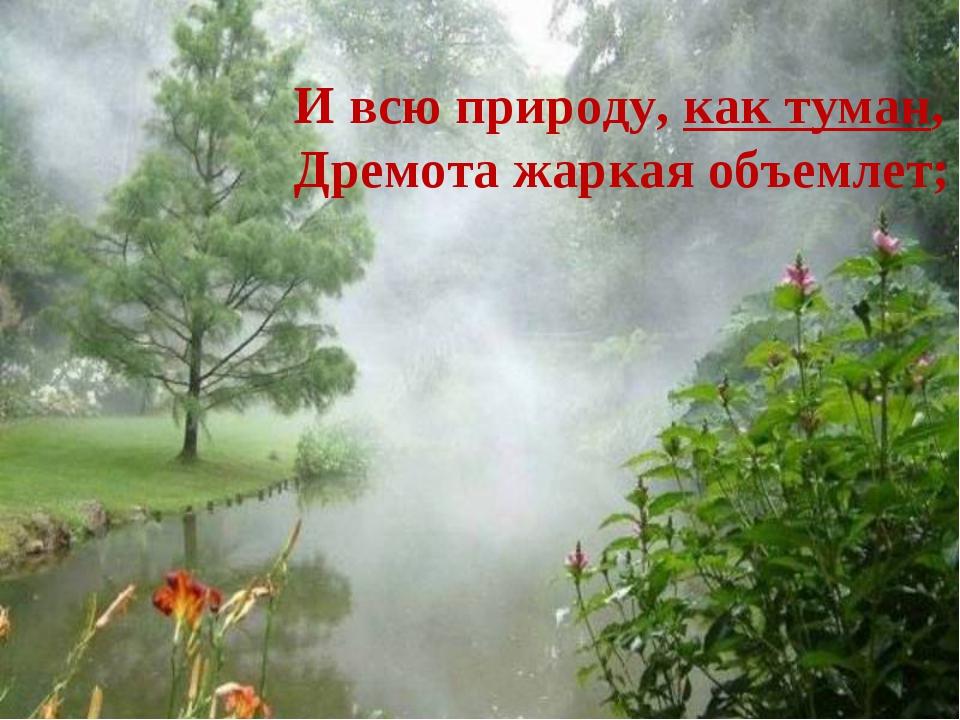 И всю природу, как туман, Дремота жаркая объемлет;