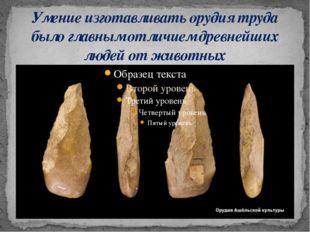 Умение изготавливать орудия труда было главным отличием древнейших людей от ж