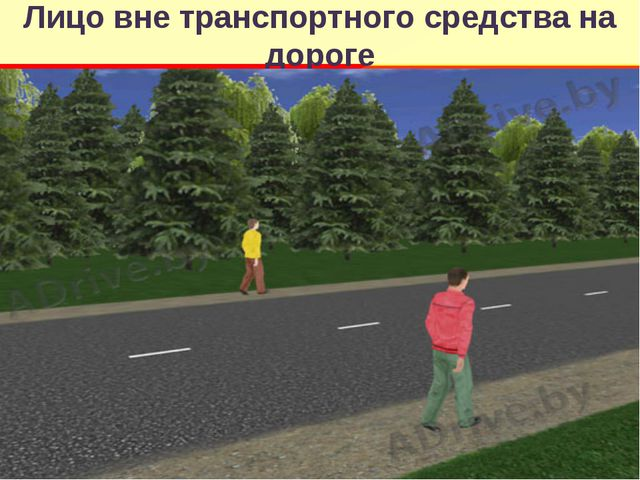 Лицо вне транспортного средства на дороге