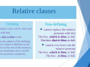 Relative clauses Defining can replace who, which, when and why with that The