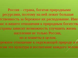 Россия – страна, богатая природными ресурсами, поэтому на ней лежит большая