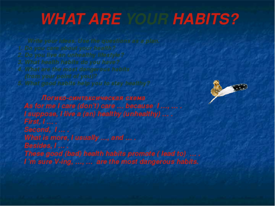 WHAT ARE YOUR HABITS? Write your ideas. Use the questions as a plan. 1. Do yo...
