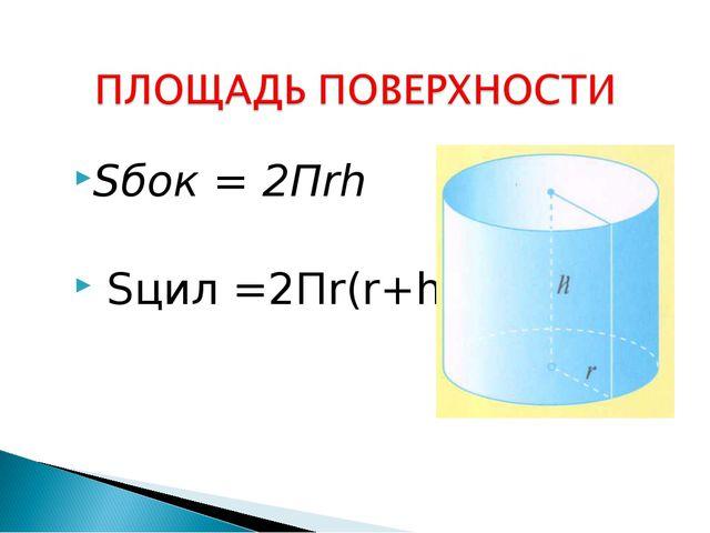 Sбок = 2Пrh Sцил =2Пr(r+h)