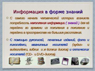 Информация в форме знаний С самого начала человеческой истории возникла потре