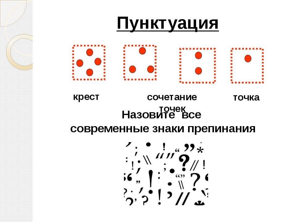 Пунктуация точка крест сочетание точек Назовите все современные знаки препина...