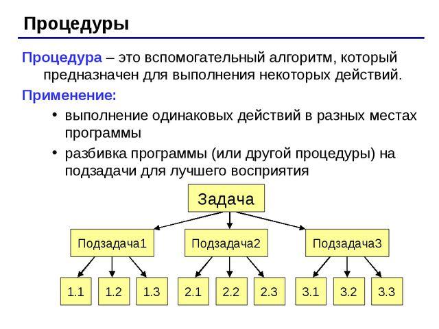 Процедуры Процедура – это вспомогательный алгоритм, который предназначен для...