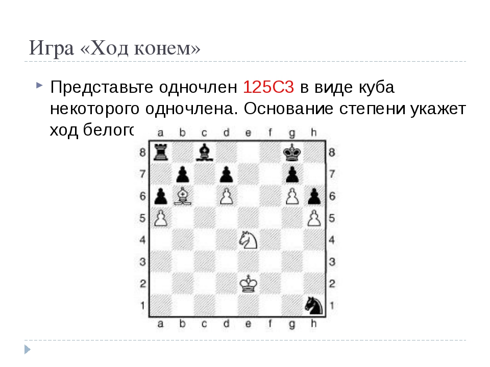 Игра «Ход конем» Представьте одночлен 125С3 в виде куба некоторого одночлена....