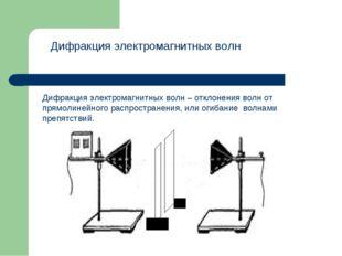 Дифракция электромагнитных волн Дифракция электромагнитных волн – отклонения