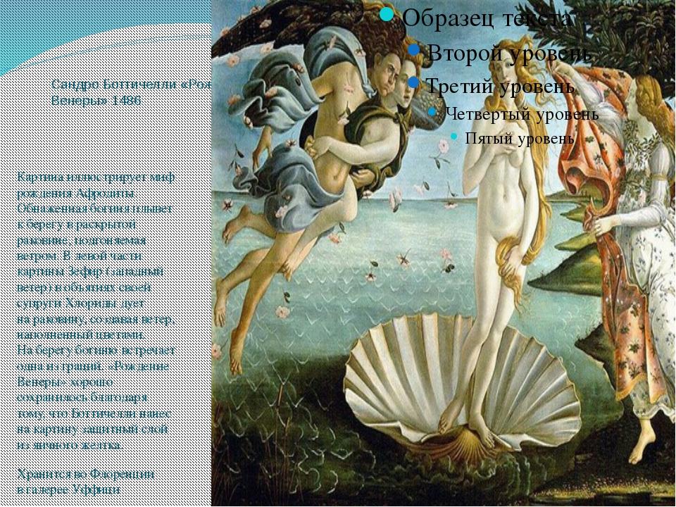 Сандро Боттичелли «Рождение Венеры» 1486 Картина иллюстрирует миф рождения Аф...