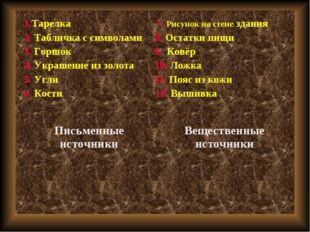 1.Тарелка 7. Рисунок на стене здания 2. Табличка с символами 8. Остатки пищи