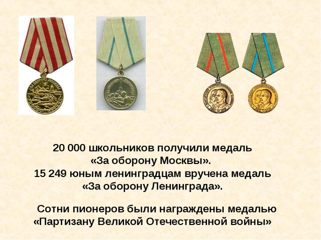 20000 школьников получили медаль «За оборону Москвы». 15249 юным ленинградц...