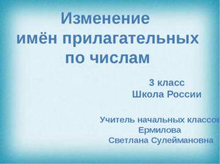 Изменение имён прилагательных по числам 3 класс Школа России Учитель начальн