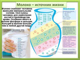 Молоко снабжает человека важными минеральными солями. Они нужны человеку для