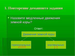 1. Повторение домашнего задания Назовите медленные движения земной коры? Отве