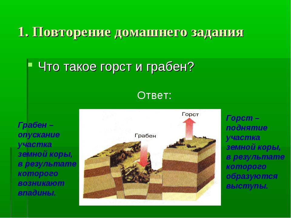 1. Повторение домашнего задания Что такое горст и грабен? Ответ: Грабен – опу...