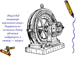 Общий вид генератора переменного тока с внутренними полюсами; Ротор является