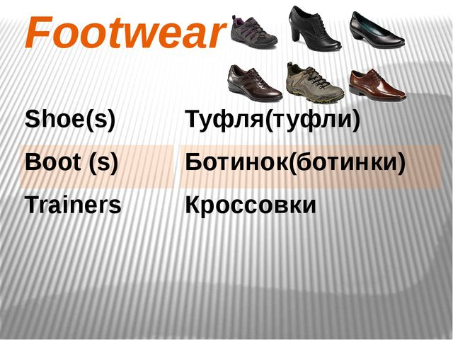 Footwear Туфля(туфли) Ботинок(ботинки) Кроссовки Shoe(s) Boot (s) Trainers