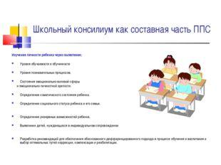 Школьный консилиум как составная часть ППС Изучение личности ребенка через вы