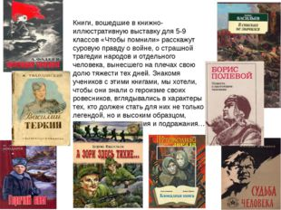 Книги, вошедшие в книжно-иллюстративную выставку для 5-9 классов «Чтобы помни