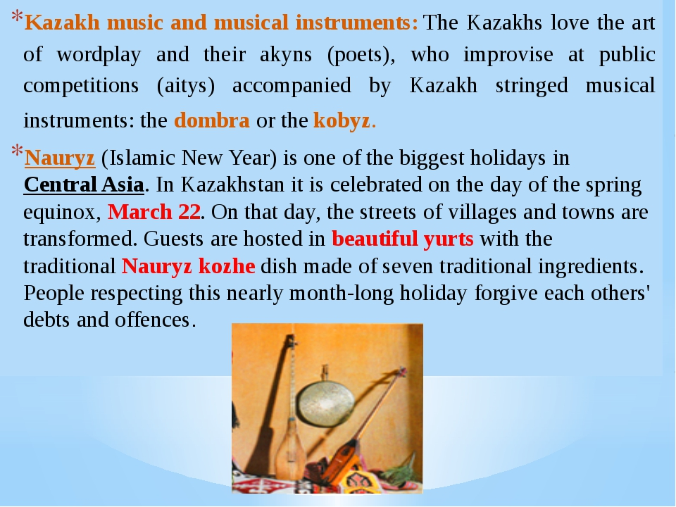 Kazakh music and musical instruments: The Kazakhs love the art of wordplay an...