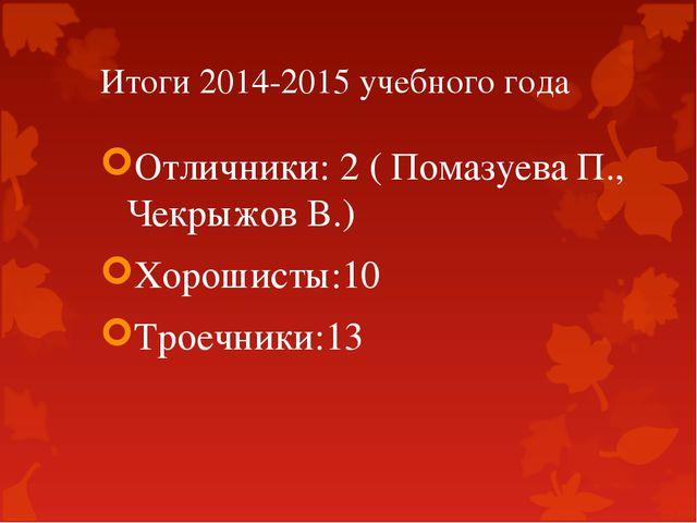 Итоги 2014-2015 учебного года Отличники: 2 ( Помазуева П., Чекрыжов В.) Хорош...