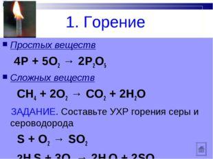 1. Горение Простых веществ 4Р + 5О2 → 2Р2О5 Cложных веществ СН4 + 2О2 → СО2 +