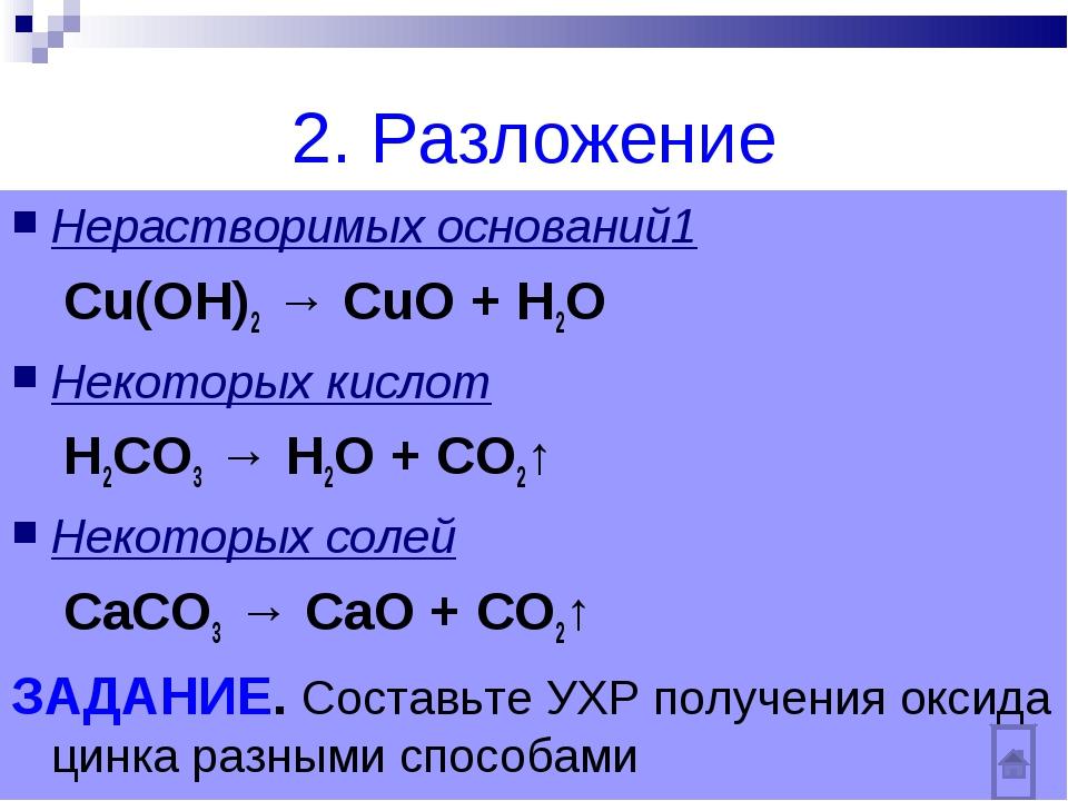 2. Разложение Нерастворимых оснований1 Сu(OH)2 → CuO + H2O Некоторых кислот Н...